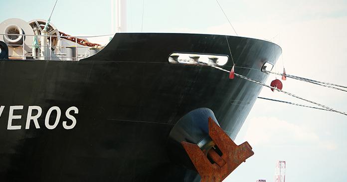Großaufnahme eines Containerschiffes
