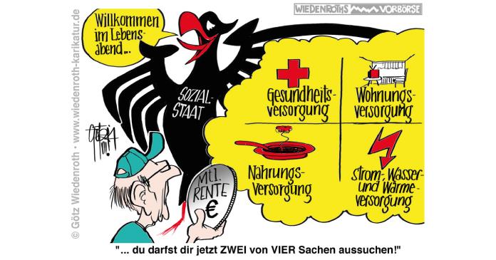 Karikatur - Deutschland-Adler zur gesetzlichen Altersrente